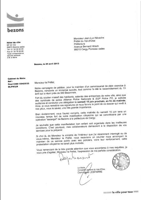lettre préfet