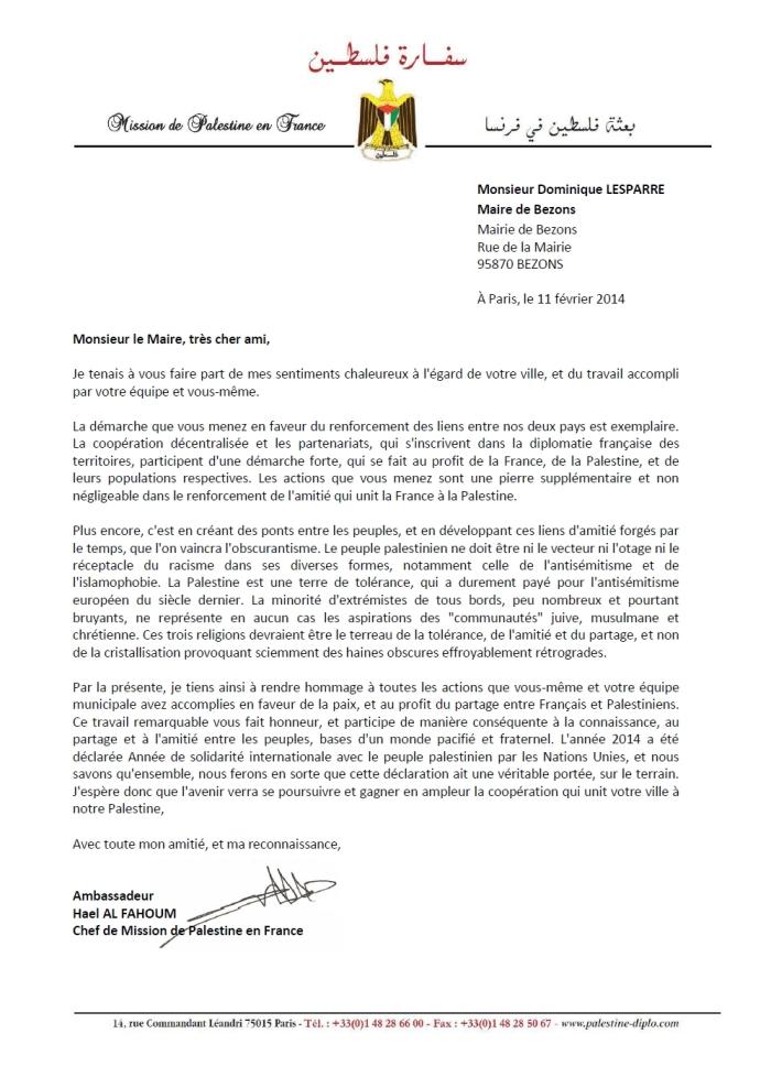 lettre ambassadeur palestine